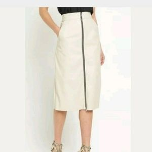 Atlantic faux Leather French Connection Midi Skirt